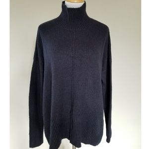 Topshop Navy High Mock Neck Tunic Sweater